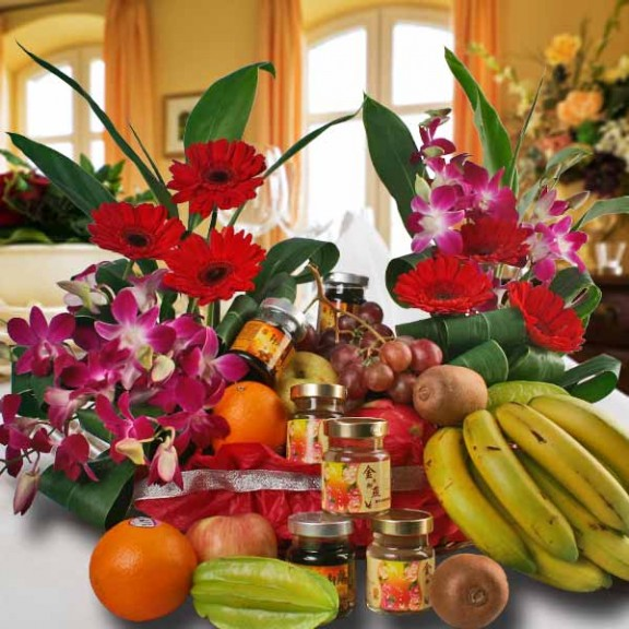 Fruits and Flower Basket with Chicken Essence – Halal